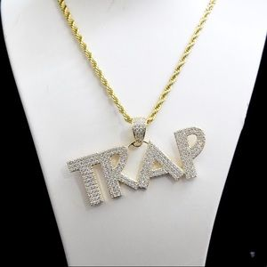 14k Gold Lab Diamond TRAP Charm Pendant Rope Chain